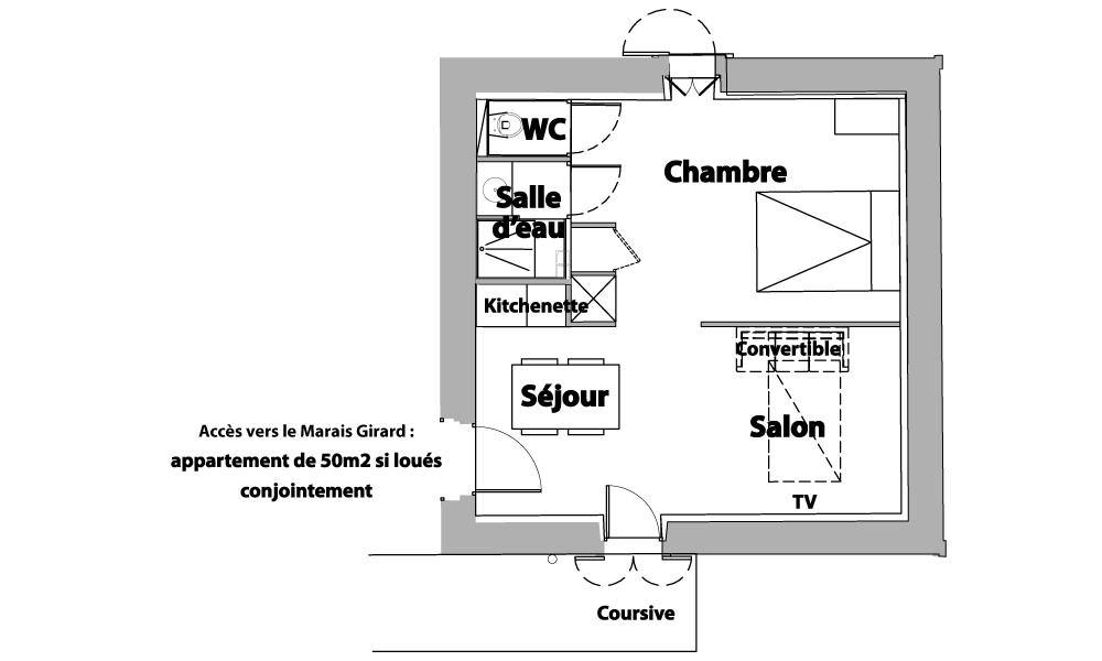 Plan chambre appart la Normandelière