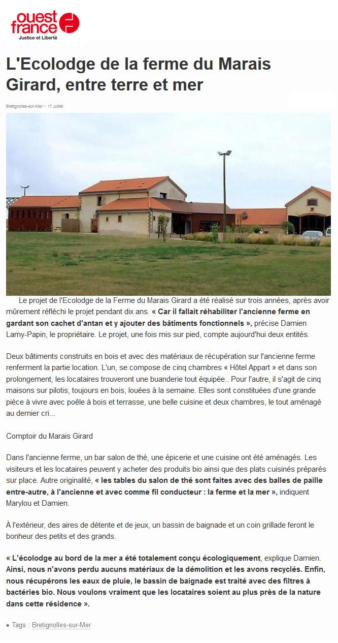 Ouest France article du 17 juillet 2015