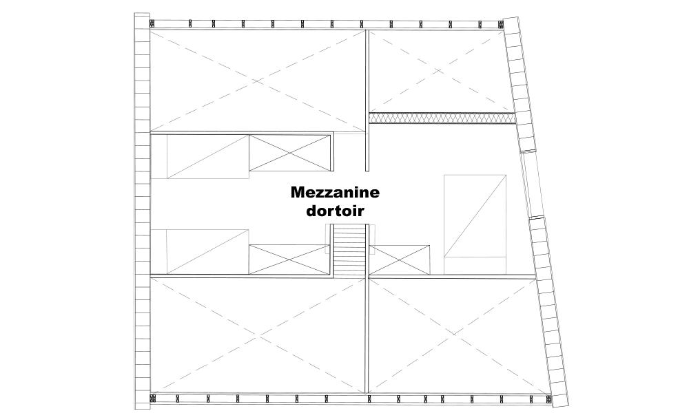 Plan de la mezzanine dortoir dans la villa serre