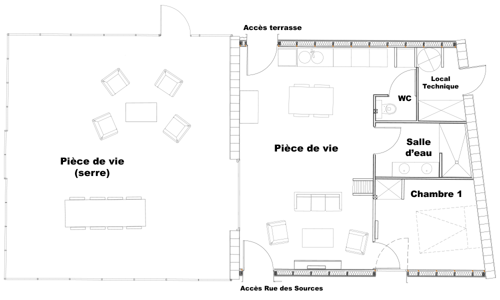 Plan du rez-de-chaussée de la villa serre
